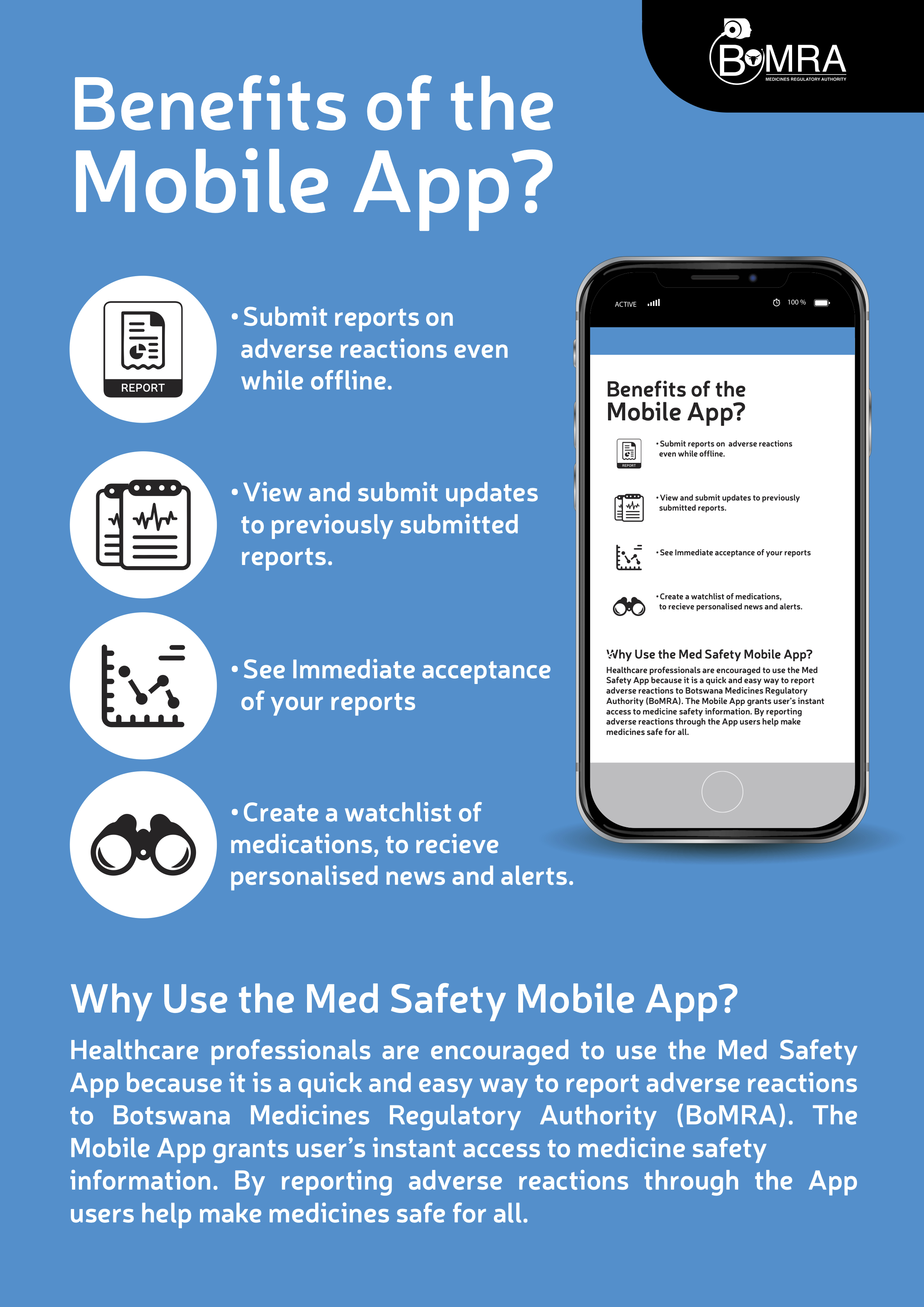 The Med Safety App provides a simple interface for submitting and viewing reports.